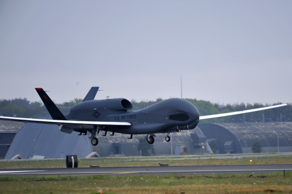 An RQ-4 Global Hawk from Andersen Air Force Base, Guam lands at Misawa Air Base, Japan, May 24, 2014. The aircraft is part of the 69th Reconnaissance Group Detachment 1 and is the first Global Hawk to land in Japanese territory. (U.S. Air Force photo/Staff Sgt. Nathan Lipscomb)