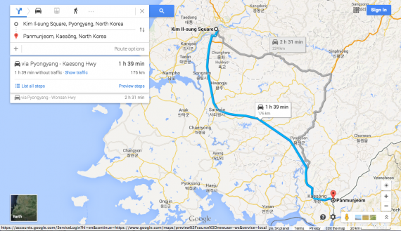 The route from Pyongyang to Panmunjon mapped by Google (NorthKoreaTech)