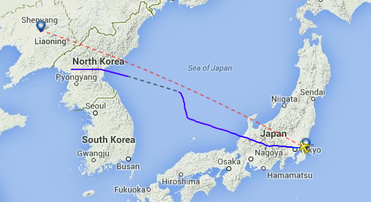 CZ628 from Shenyang to Tokyo's Narita, shown flying over the heart of North Korea.