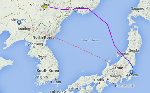 All Nippon Airways NH 926 avoids North Korean airspace when it flies from Shenyang to Tokyo.