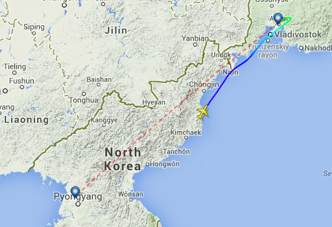 Air Koryo 271 en-route from Pyongyang to Vladivostok