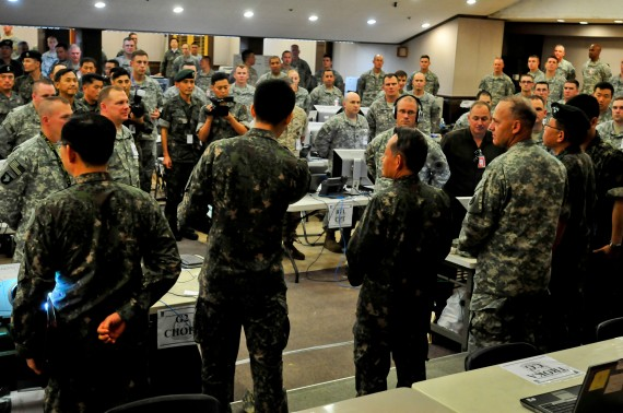 Admiral Choi Yoon Hee, Chairman of Joint Chiefs of Staff for the Republic of Korea, addresses personnel of the I Corps joint operation center in preparation for Ulchi Freedom Guardian exercise at Camp Yongin, South Korea, Aug. 20. (DOD Photo / Daniel Schroeder)
