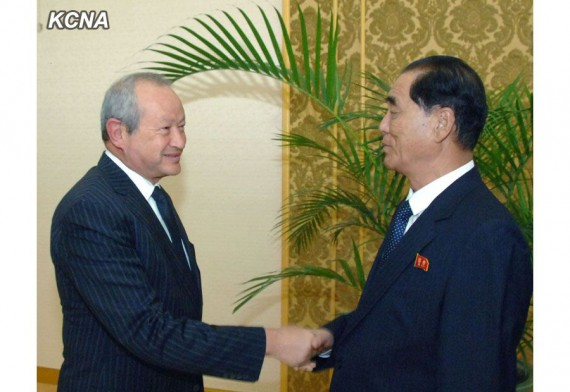 Naguib Sawiris meets DPRK Premier Pak Pong Ju at the Mansudae Assembly Hall in this October 13, 2014, image from Korean Central News Agency