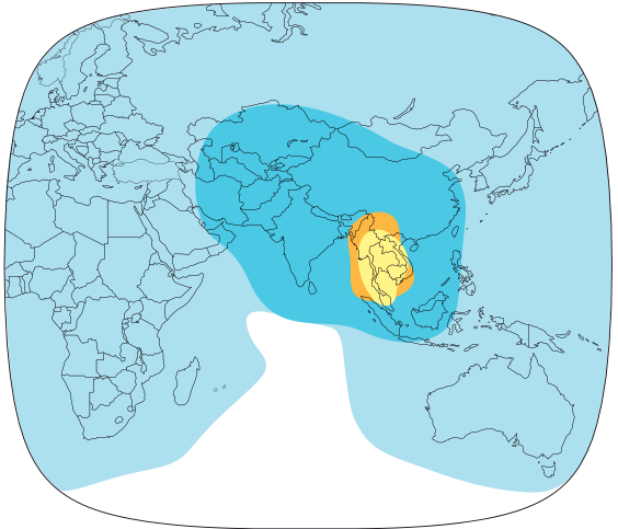 The footprint of the Thaicom 5 satellite, which carries Korean Central Television
