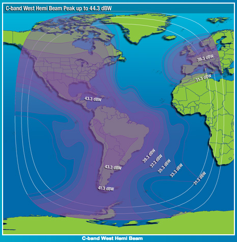 The footprint of the Intelsat 21 satellite (Image: Intelsat)