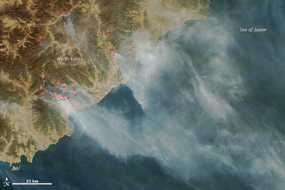 Fires burning in North Korea, captured by the Moderate Resolution Imaging Spectroradiometer (MODIS) on NASA's Terra satellite on April 27, 2015.