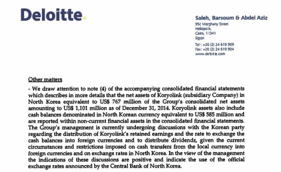 An auditor's report released on April 2, 2015, detailing OTMT's assets in North Korea