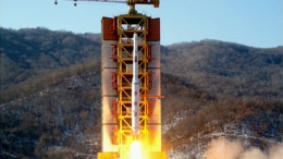 A North Korean rocket blasts off from Sohae Satellite Launching Center on Feb. 7, 2016, in this image broadcast on KCTV (Photo: KCTV/North Korea Tech)