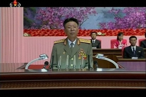 Ri Yong-gil, chief of the Korean People's Army, is seen speaking at an event in Pyongyang in this image from Korean Central Television (Photo KCTV/North Korea Tech)