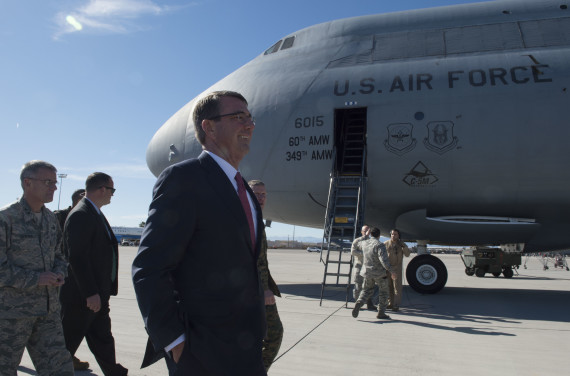 U.S. Secretary of Defense Ash Carter walks the flight line at Nellis Air Force Base, Nevada, on Feb. 4, 2016. (Photo: Tim Godbee/USN)