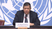 Marzuki Darusman, United Nations Special Rapporteur on the situation of Human Rights in the Democratic People's Republic of Korea, speaks in Geneva on March 14, 2016.
