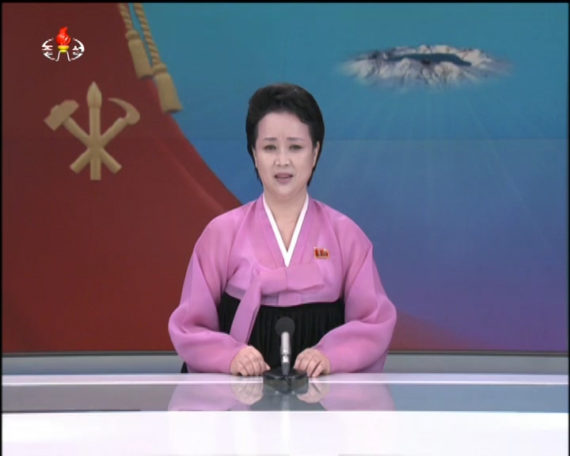 A Korean Central TV announcer introduces coverage of the 7th Workers' Party Congress on May 6, 2016. (Photo: North Korea Tech/KCTV)