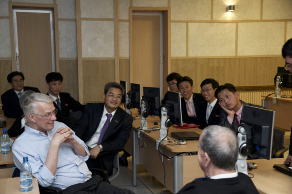 Dr Sir Richard Roberts speaks to North Korean students and faculty at PUST on May 5, 2016. (Photo: Ian Wells / PUST)